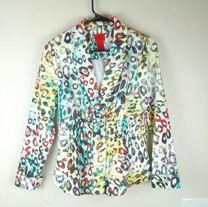 V Christina Leapord print 3 button blazer